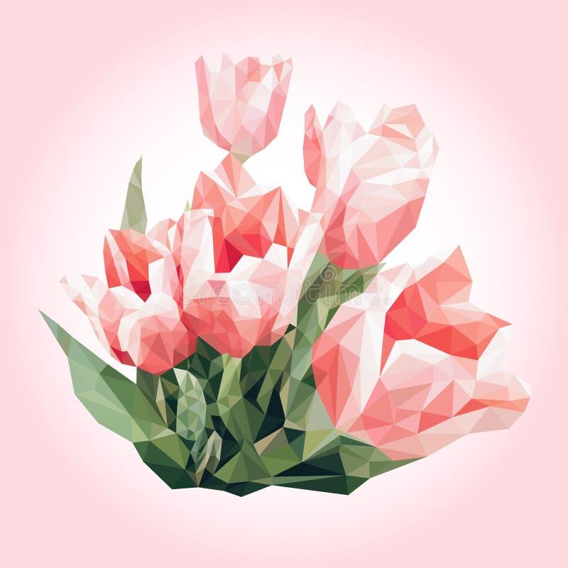 άνοιξη λουλουδιών ανθο&d Χαμηλές πολυ ρόδινες τουλίπες διάνυσμα μουσικής ατόμων χρώματος ανασκόπησης Polygonal υπόβαθρο, μωσαϊκό, στοκ εικόνες με δικαίωμα ελεύθερης χρήσης