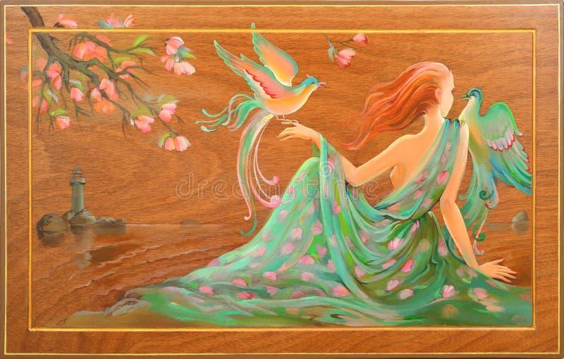 Άνοιξη σε Douarnenez Πορτρέτο της όμορφης συνεδρίασης κοριτσιών στην ακτή του Ατλαντικού Ωκεανού Ελαιογραφία στο ξύλο στοκ εικόνα