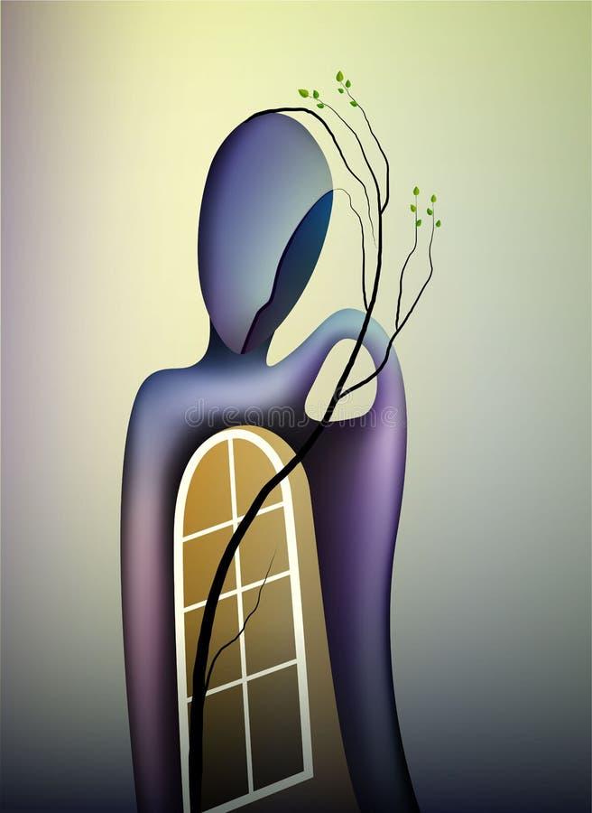 Άνοιξη στην έννοια ψυχής, τη μορφή των μνημών, το άτομο με το ανοικτό παράθυρο και τον κλάδο της ανάπτυξης δέντρων μέσα, σύγχρονο διανυσματική απεικόνιση