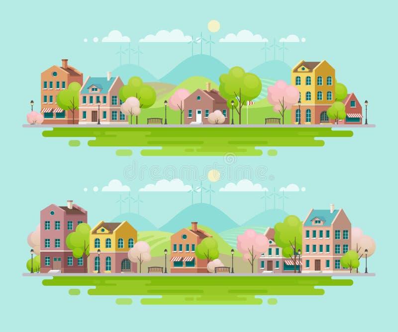 Άνοιξη στη μικρή πόλη landscape urban ελεύθερη απεικόνιση δικαιώματος