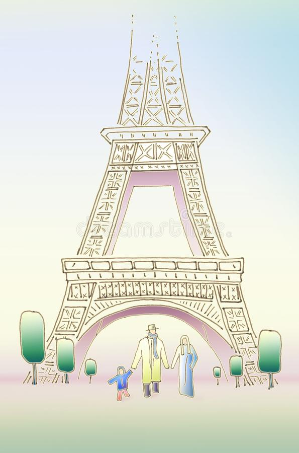 άνοιξη του Παρισιού οικογένεια ευτυχή τρία ελεύθερη απεικόνιση δικαιώματος