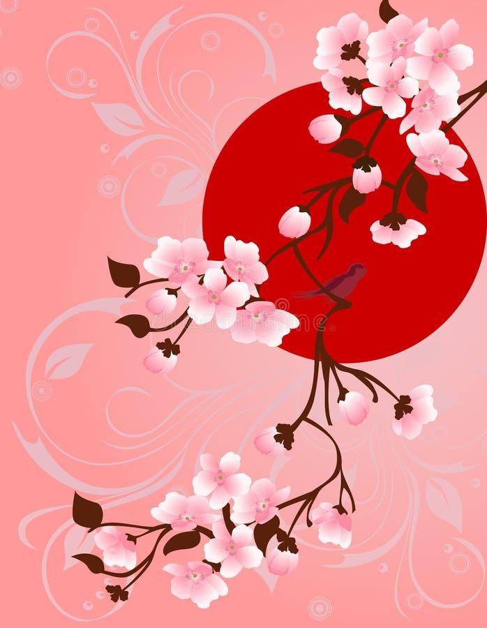 Άνοιξη Floral δέντρο και πουλιά για το σχέδιό σας ελεύθερη απεικόνιση δικαιώματος