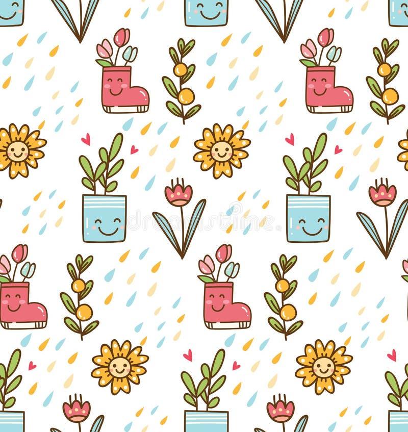 Άνοιξη Kawaii με το υπόβαθρο λουλουδιών και πουλιών διανυσματική απεικόνιση
