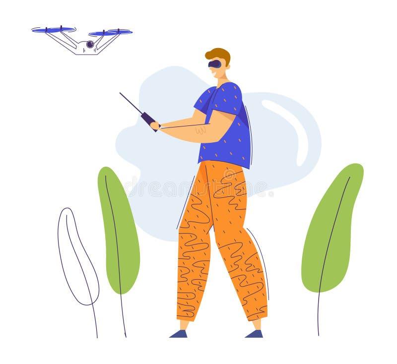 Άντρας με γυαλιά εικονικής πραγματικότητας που πετούν drone με τηλεχειριστήριο Τεχνολογία Video Photo Camera Flight Gadget ελεύθερη απεικόνιση δικαιώματος