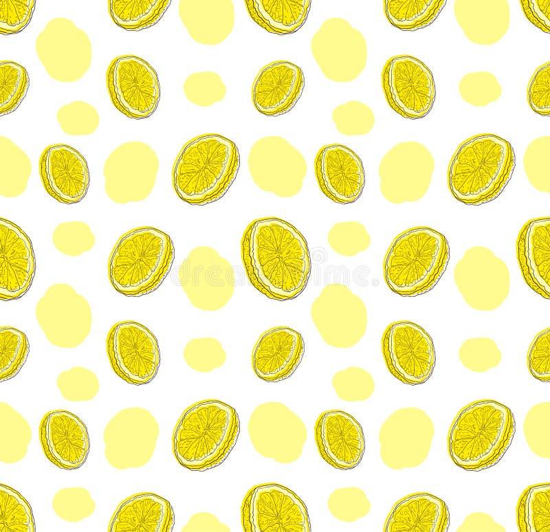 Άνυσμα μοτίβο με ομοιόμορφα χρώματα λεμονιών σχεδιασμένα με το χέρι στο λευκό φόντο και αφηρημένα σημεία χρώματος, χαριτωμένη πολ ελεύθερη απεικόνιση δικαιώματος