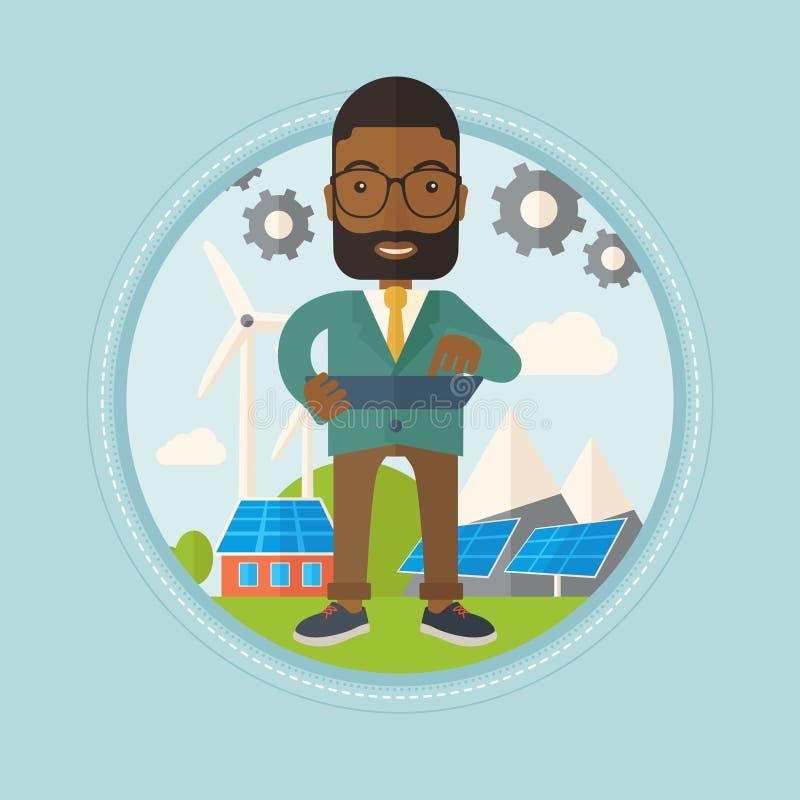 Άνδρας εργαζόμενος των εγκαταστάσεων ηλιακής ενέργειας και του αιολικού πάρκου απεικόνιση αποθεμάτων