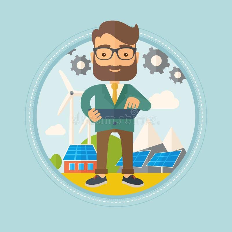 Άνδρας εργαζόμενος των εγκαταστάσεων ηλιακής ενέργειας και του αιολικού πάρκου ελεύθερη απεικόνιση δικαιώματος