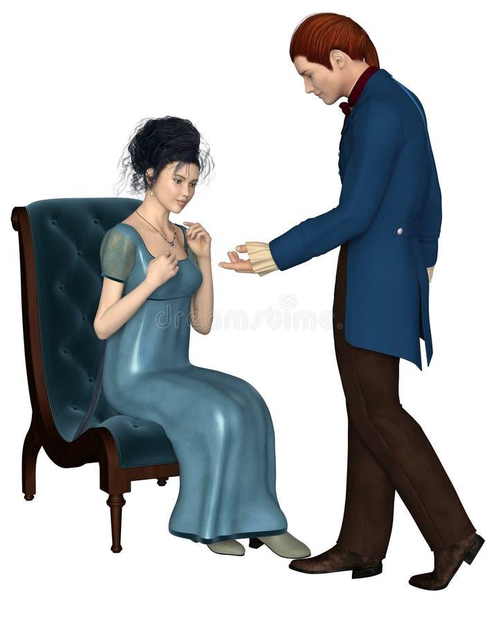Άνδρας και γυναίκα εποχής αντιβασιλείας διανυσματική απεικόνιση