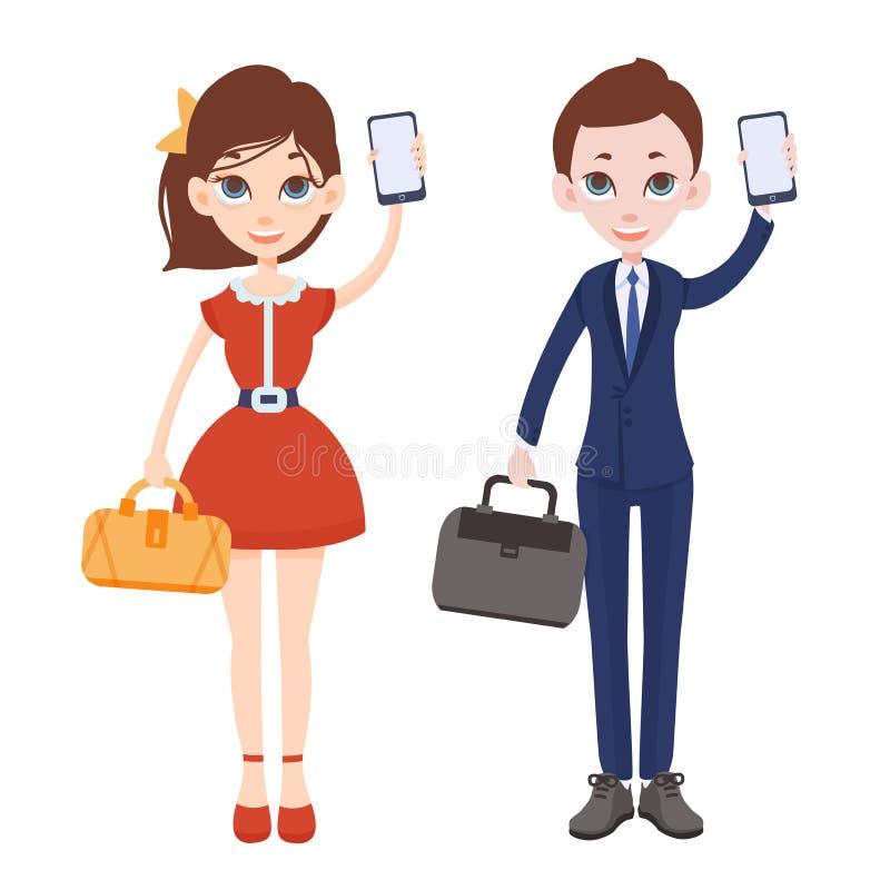 Άνδρας και γυναίκα κινούμενων σχεδίων με τα τηλέφωνα στα χέρια τους Γυναίκα στο κόκκινο φόρεμα με την τσάντα Άτομο σε ένα επιχειρ διανυσματική απεικόνιση