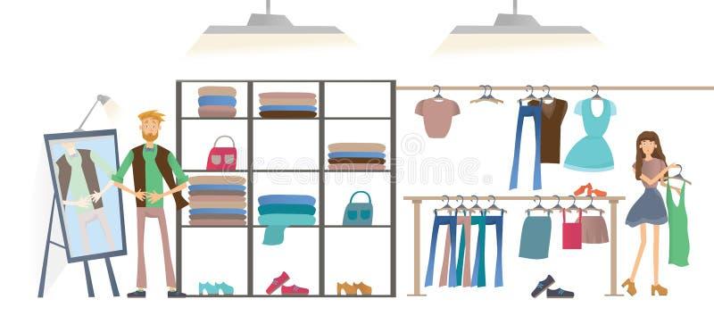 Άνδρας και γυναίκα στο κατάστημα ιματισμού Κατάστημα μόδας, ράφια των ενδυμάτων Διανυσματική απεικόνιση, που απομονώνεται στο άσπ διανυσματική απεικόνιση