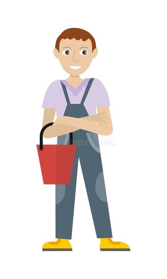 Άνδρας μέλος του καθαρότερου προσωπικού υπηρεσιών σε ομοιόμορφο απεικόνιση αποθεμάτων