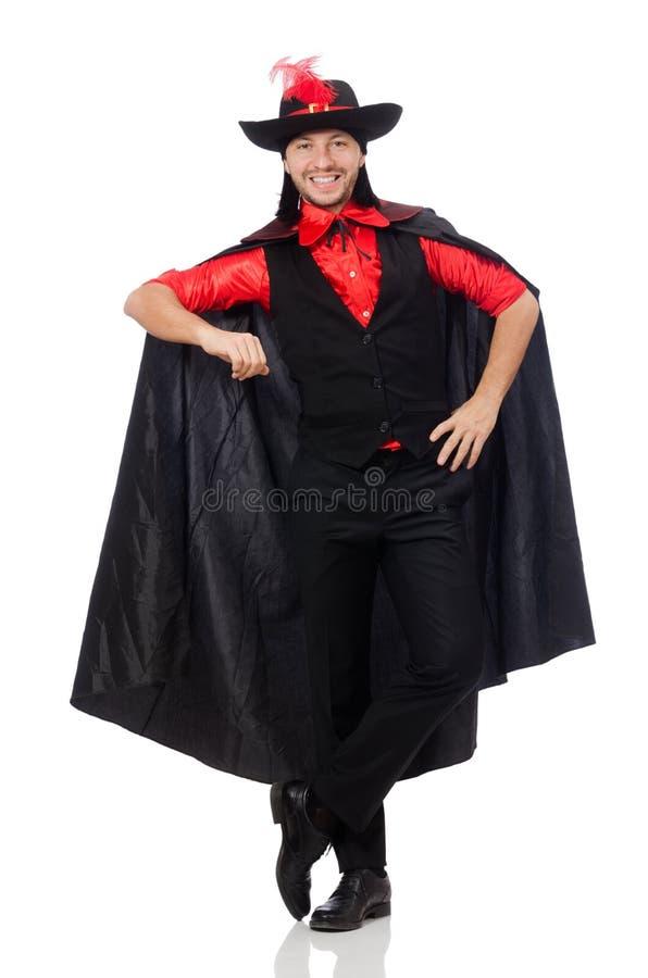 Άνδρας στο παλτό καρναβαλιού που απομονώνεται νεαρός στο λευκό στοκ εικόνες