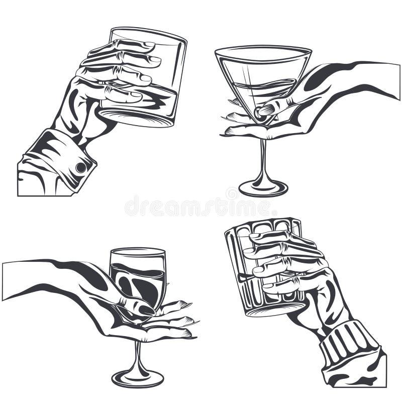 Άνδρα-γυναίκας ποτό οινοπνεύματος γυαλιού εκμετάλλευσης χεριών διανυσματική απεικόνιση