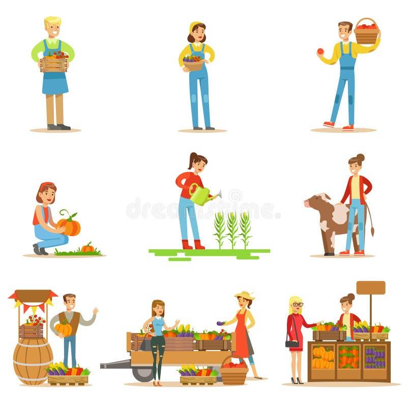 Άνδρες και γυναίκες αγροτών που εργάζονται στο αγρόκτημα και τα πωλώντας φρέσκα λαχανικά καλλιέργειας διανυσματική απεικόνιση