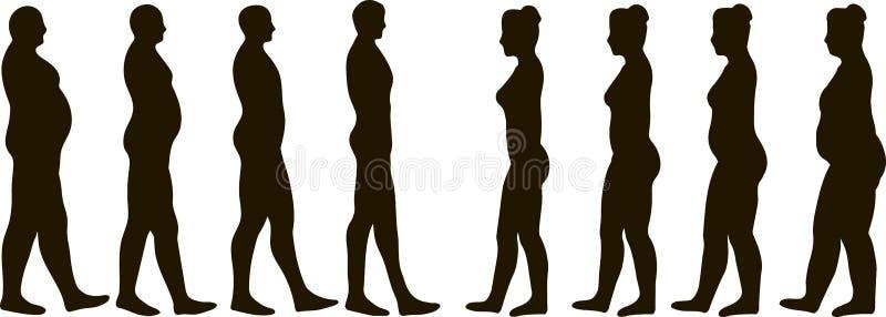 Άνδρες και γυναίκες απώλειας βάρους διανυσματική απεικόνιση