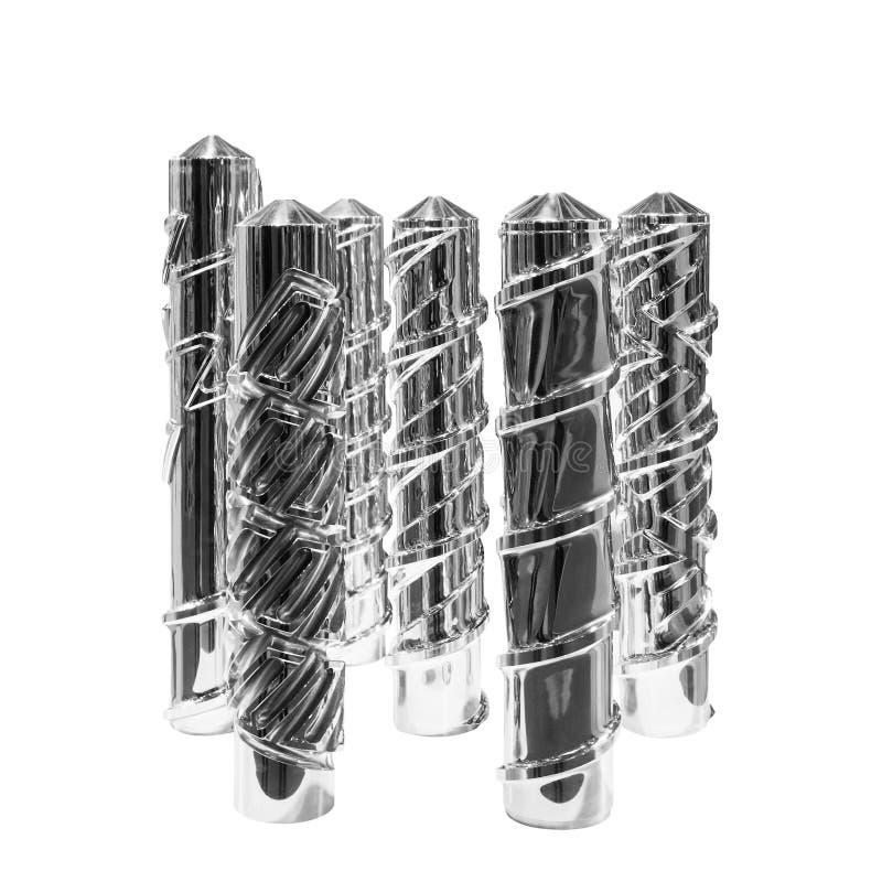 Άξονας χάλυβα της μηχανής εξωθήσεων, κατασκευή βιομηχανίας Παραγωγή του PVC Η τεχνολογία της σύγχρονης παραγωγής του PVC στοκ εικόνα με δικαίωμα ελεύθερης χρήσης