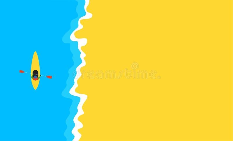 Άποψη άνωθεν σχετικά με το καγιάκ θάλασσας κοντά seacoast στην μπλε θάλασσα και την κίτρινη αμμώδη παραλία Επίπεδο σχέδιο διανυσματική απεικόνιση