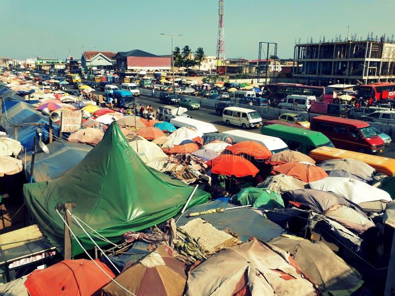 Άποψη άνω πλευρών του σταθμού Kaneshie, Accrà ¡, Γκάνα στοκ φωτογραφία με δικαίωμα ελεύθερης χρήσης