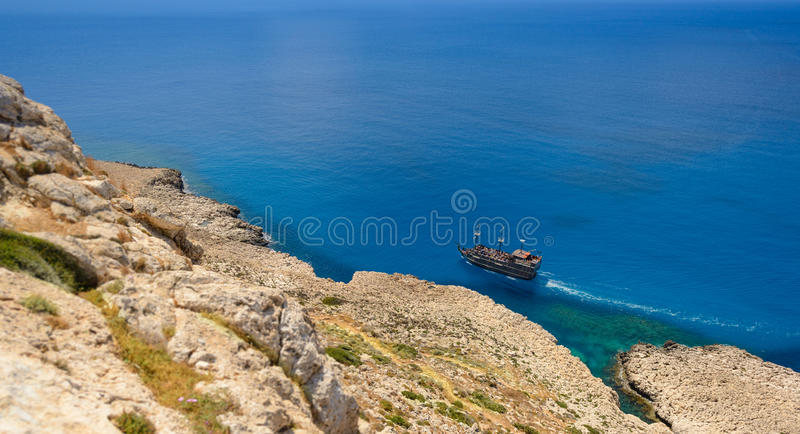 Άποψη ακτών Greco ακρωτηρίων, Κύπρος 6 στοκ εικόνα με δικαίωμα ελεύθερης χρήσης