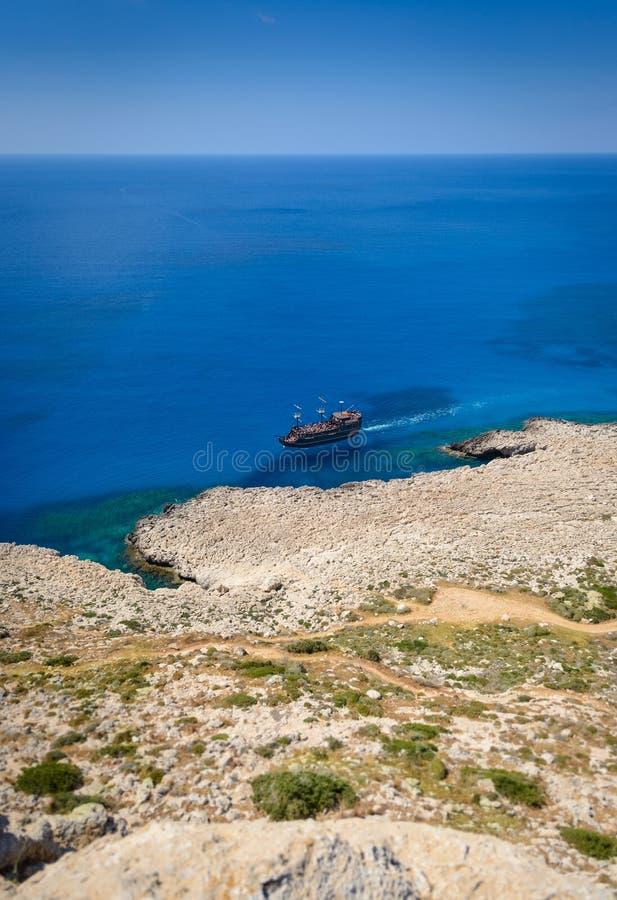 Άποψη ακτών Greco ακρωτηρίων, Κύπρος 7 στοκ εικόνα