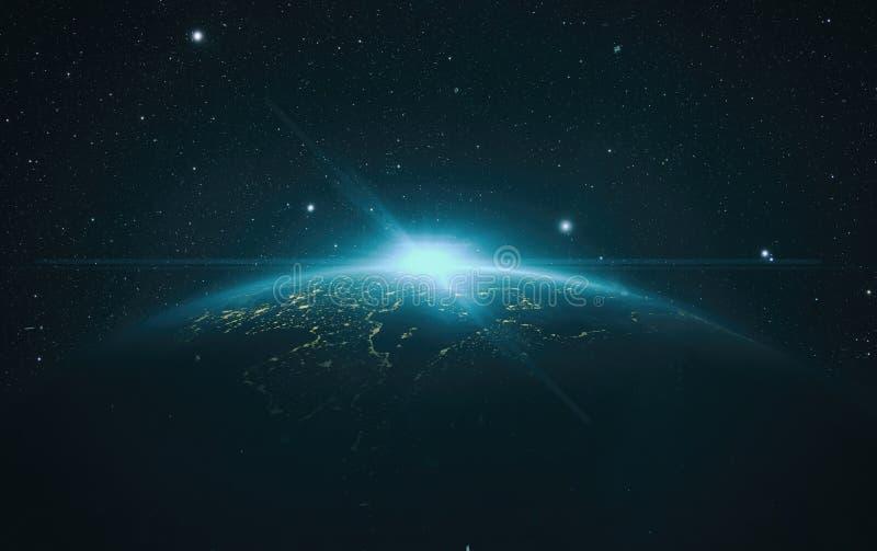 Άποψη ανατολής της γης από το διάστημα ελεύθερη απεικόνιση δικαιώματος