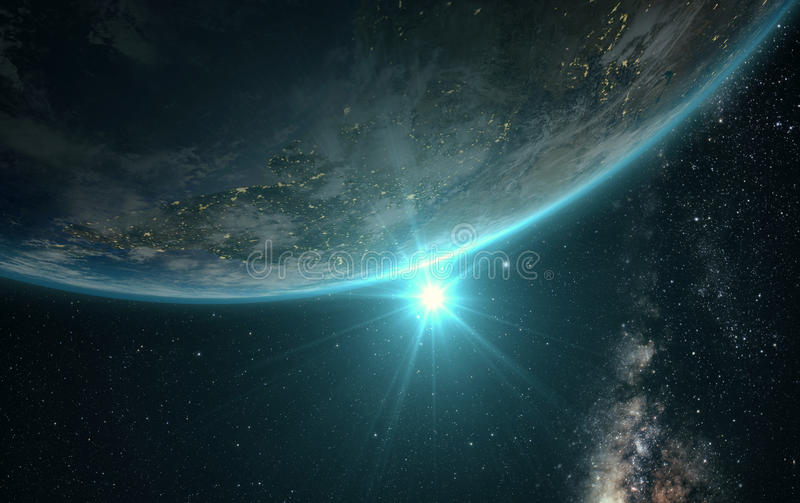 Άποψη ανατολής της γης από το διάστημα διανυσματική απεικόνιση