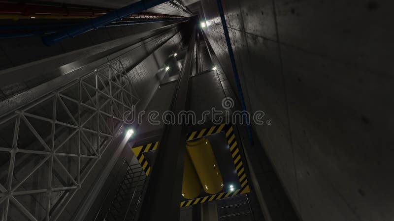 Άποψη ανελκυστήρων ανελκυστήρων Upping μέσα στην τεχνολογία άξονων ανελκυστήρων και τη βιομηχανική έννοια στοκ εικόνες