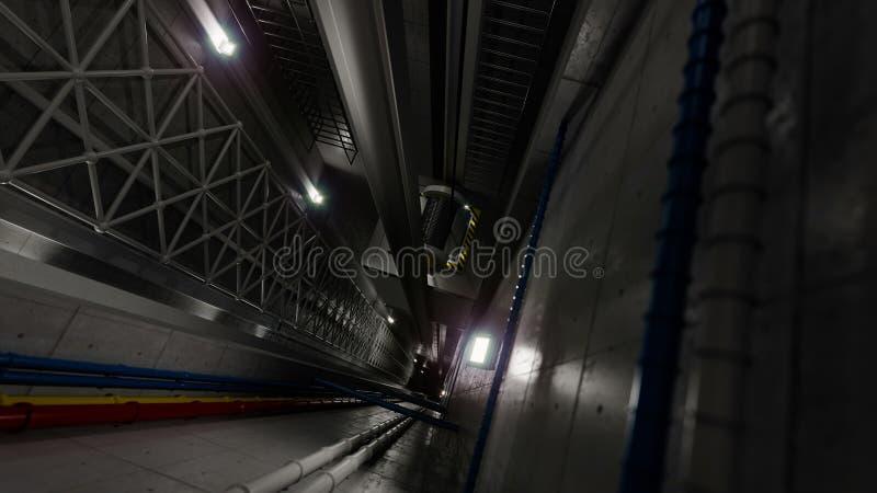 Άποψη ανελκυστήρων ανελκυστήρων Upping μέσα στην τεχνολογία άξονων ανελκυστήρων και τη βιομηχανική έννοια στοκ εικόνες με δικαίωμα ελεύθερης χρήσης