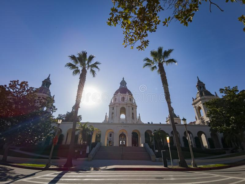Άποψη απογεύματος του όμορφου Πασαντένα Δημαρχείο στο Λος Άντζελες, Καλιφόρνια στοκ φωτογραφία