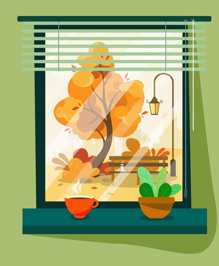 Άποψη από ένα παράθυρο σε μια οδό φθινοπώρου με μια καυτή κούπα του καφέ ή του τσαγιού σε ένα επίπεδο ύφος στοκ εικόνες