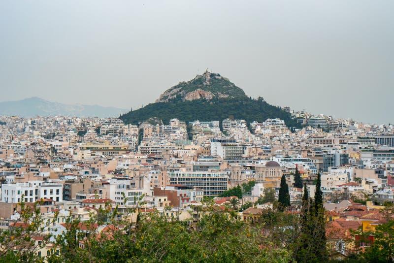 Άποψη από την ακρόπολη στη εικονική παράσταση πόλης του Hill της Αθήνας και Lycabettus, γνωστή ως Lykabettos στοκ εικόνες με δικαίωμα ελεύθερης χρήσης