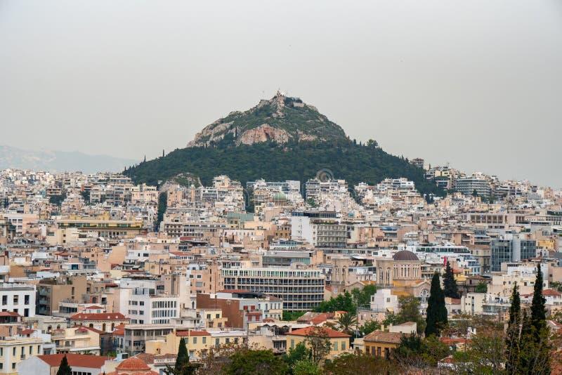 Άποψη από την ακρόπολη στη εικονική παράσταση πόλης του Hill της Αθήνας και Lycabettus, γνωστή ως Lykabettos στοκ φωτογραφίες με δικαίωμα ελεύθερης χρήσης