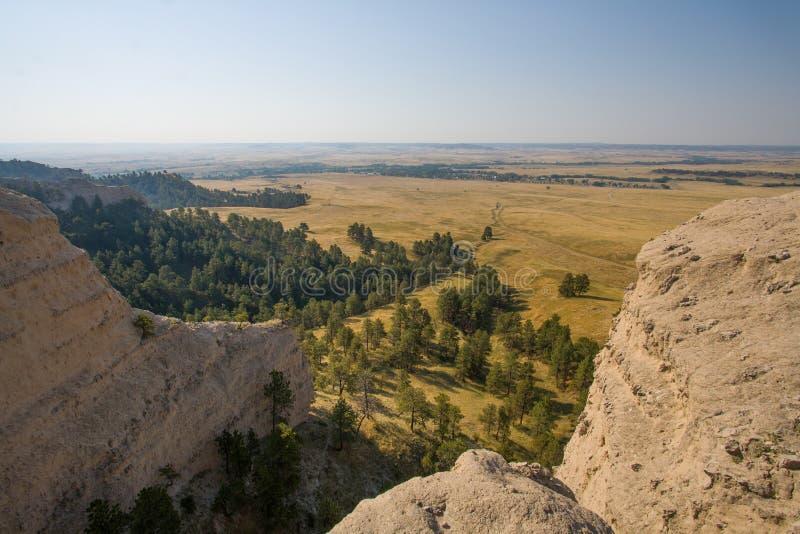 Άποψη από την κορυφογραμμή στο κρατικό πάρκο Robinson οχυρών, Νεμπράσκα στοκ εικόνες