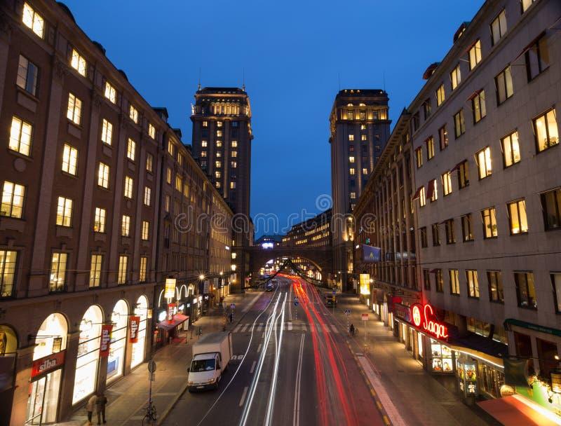 Άποψη από τη γέφυρα στο σπίτι πύργων στη Στοκχόλμη Σουηδία 05 11 2015 στοκ φωτογραφία