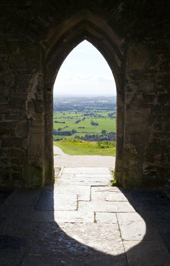 Άποψη από τη σκαπάνη Glastonbury σε Somerset στοκ εικόνες