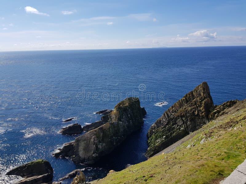 Άποψη από τον επικεφαλής φάρο Sumburgh σε Shetland στοκ φωτογραφίες