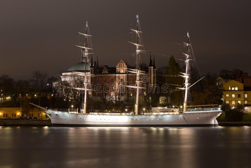 Άποψη από τον περίπατο sailboat στη Στοκχόλμη Σουηδία 05 11 2015 στοκ εικόνες