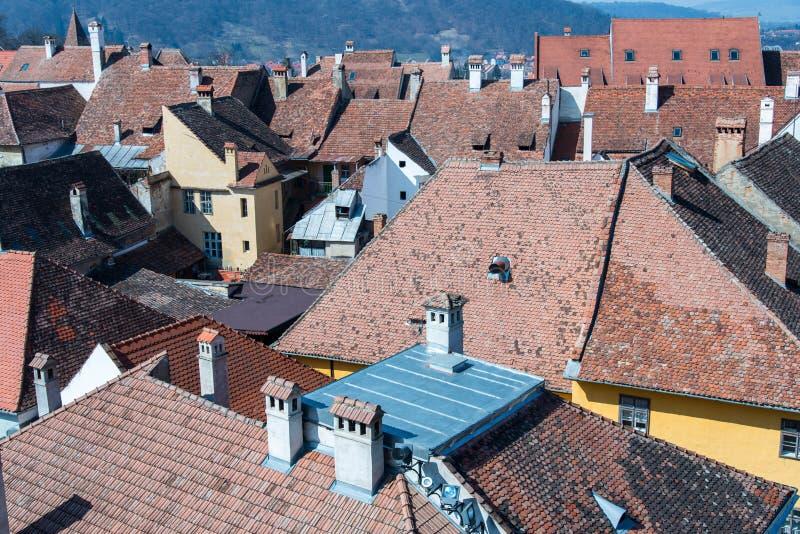 Άποψη από τον πύργο ρολογιών της διάσημης μεσαιωνικής πόλης στοκ εικόνα