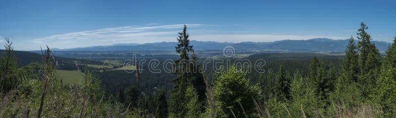 Άποψη από το ίχνος βουνών tatra σε Baranec στην κοιλάδα με το χαμηλό tatra και τις μπλε misty κλίσεις των λόφων στην απόσταση Πεύ στοκ φωτογραφίες με δικαίωμα ελεύθερης χρήσης