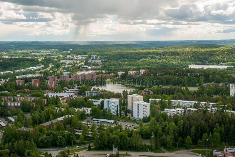 Άποψη από το βουνό στο Kuopio και τις λίμνες, βόρειο Savonia, Φινλανδία στοκ εικόνα