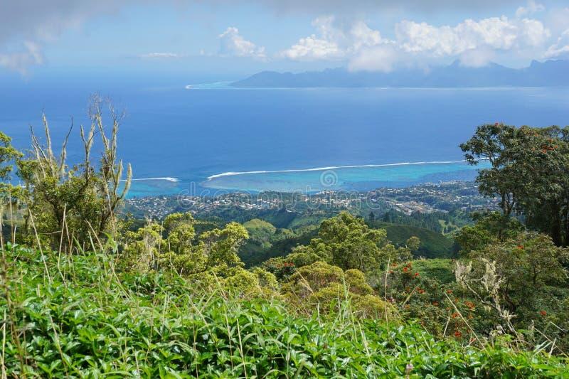 Άποψη από το βουνό της Ταϊτή γαλλική Πολυνησία στοκ εικόνες