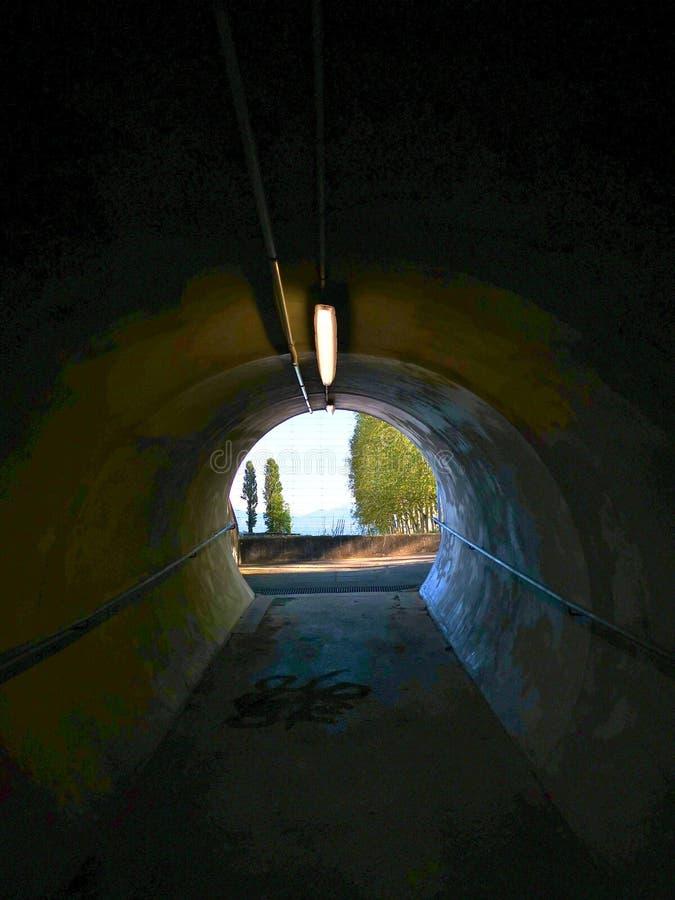 Άποψη από το εσωτερικό μιας σήραγγας σε μερικά δέντρα και σύννεφα στοκ εικόνες