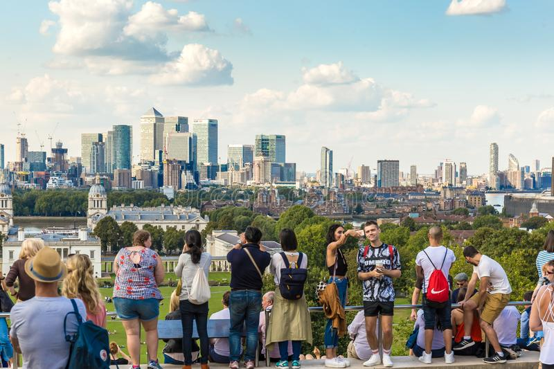 Άποψη από το λόφο του Γκρήνουιτς, Λονδίνο στοκ φωτογραφία με δικαίωμα ελεύθερης χρήσης