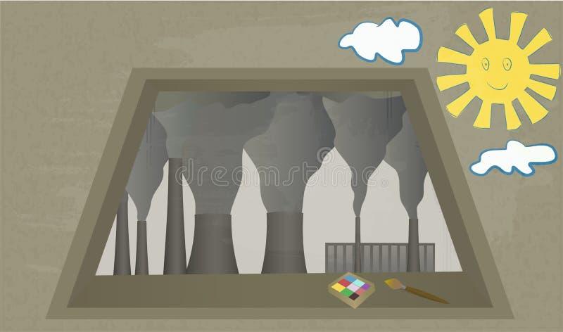 Άποψη από το παράθυρο στις καπνίζοντας καπνοδόχους των εγκαταστάσεων απεικόνιση αποθεμάτων