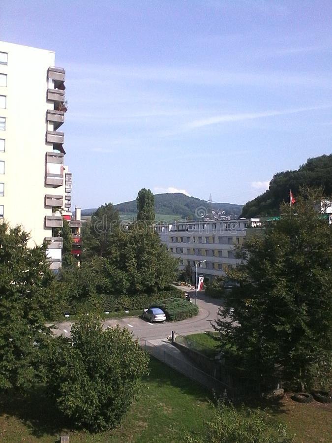 Άποψη από το πεζούλι, Pratteln, Ελβετία στοκ εικόνα