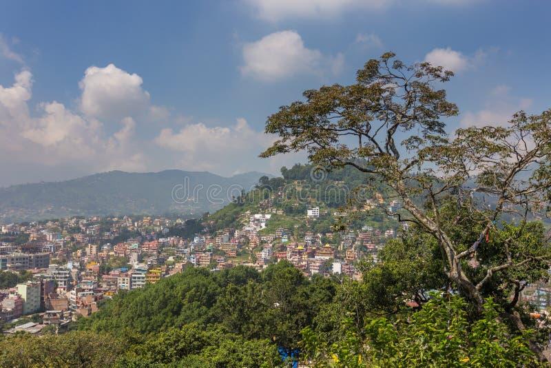 Άποψη από το stupa Swayambhunath στο Κατμαντού, πρωτεύουσα Nepa στοκ φωτογραφία με δικαίωμα ελεύθερης χρήσης