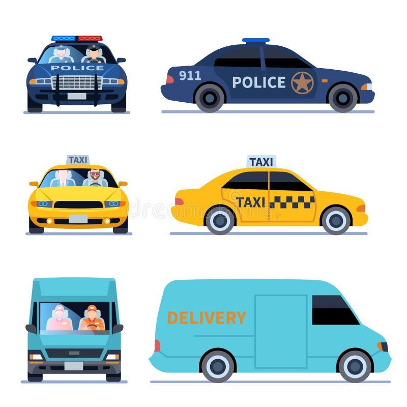 Άποψη αυτοκινήτων Το φορτηγό παράδοσης, το αυτοκίνητο αστυνομίας και η αυτόματη δευτερεύουσα μπροστινή εξέταση ταξί απομόνωσαν το ελεύθερη απεικόνιση δικαιώματος