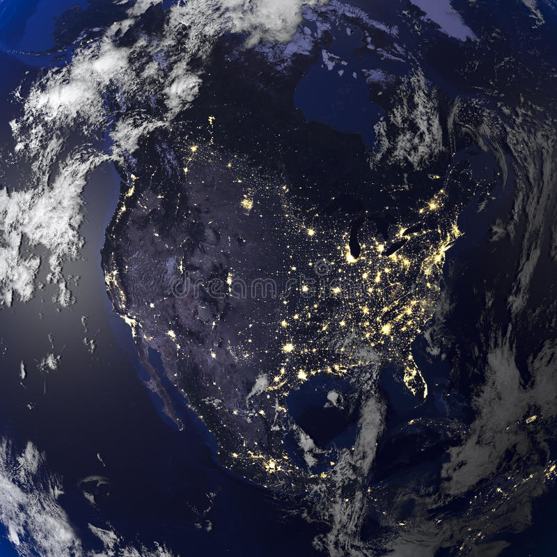 Άποψη γήινης νύχτας από τη διαστημική τρισδιάστατη απόδοση απεικόνιση αποθεμάτων