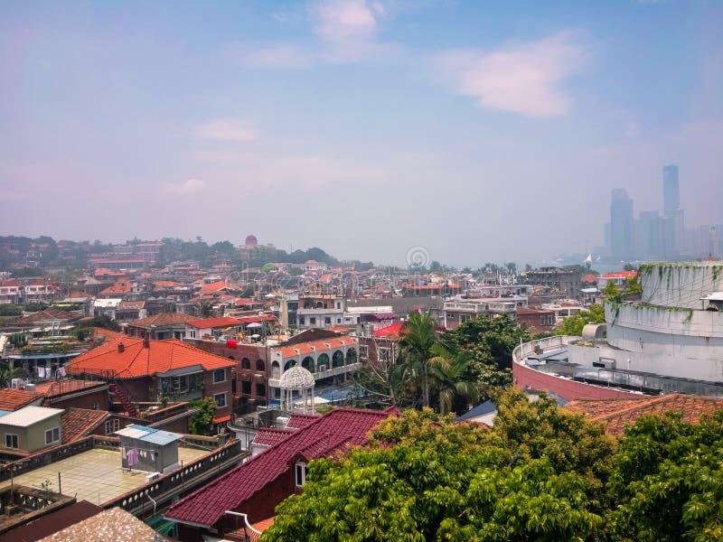 Άποψη εικονικής παράστασης πόλης της μικρής πόλης στην πόλη στοκ φωτογραφίες με δικαίωμα ελεύθερης χρήσης