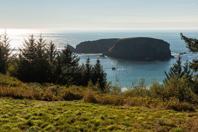 Άποψη ενός νησακιού στο Ειρηνικό Ωκεανό στη δυτική ακτή του νότιου Όρεγκον, ΗΠΑ στοκ φωτογραφία
